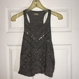 Hollister Gray Sequined Tank Top